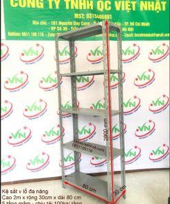 Kệ sắt v lỗ đa năng cao 2m - rộng 30 - dài 80 - 5 tầng mâm